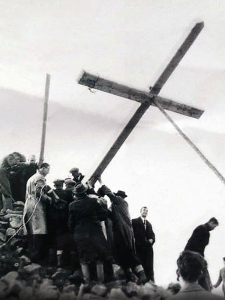 The first cross to be erected on brandon hill. Year 1954
