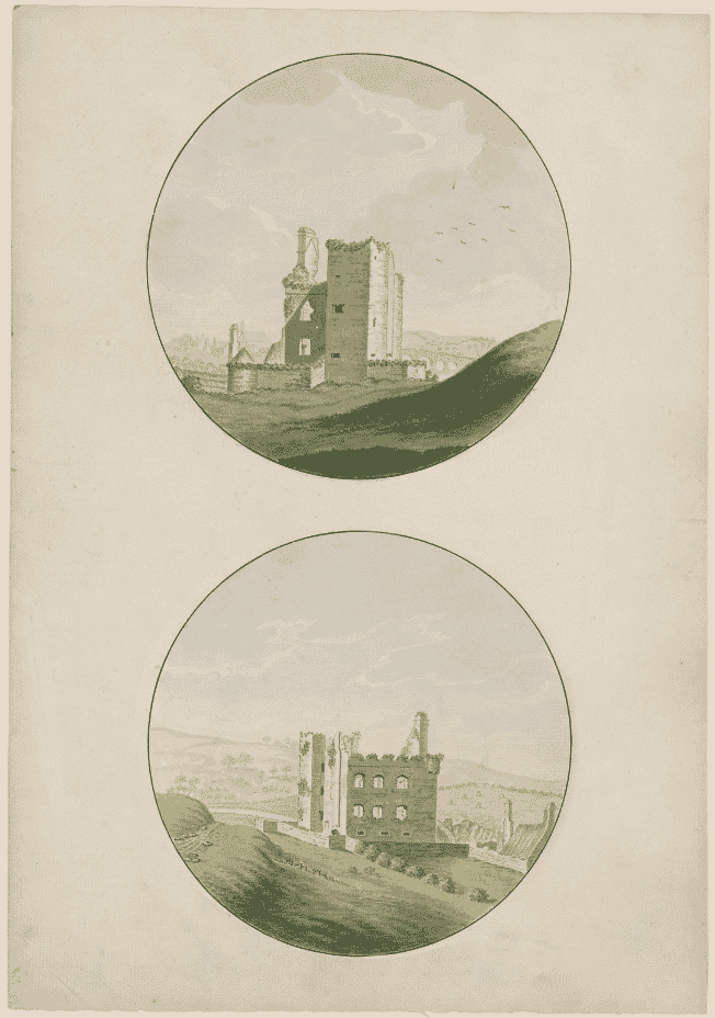 two sketches of Tinnahinch castle from years ago.